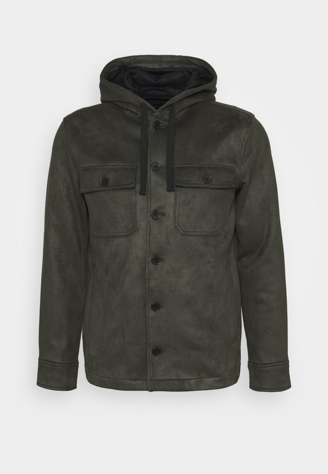 BUTTON HOOD - Faux leather jacket - wilderness green