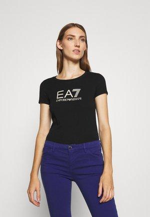 Print T-shirt - black/light gold