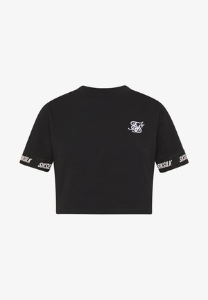 TECH TAPE CROP TEE - Print T-shirt - jet black