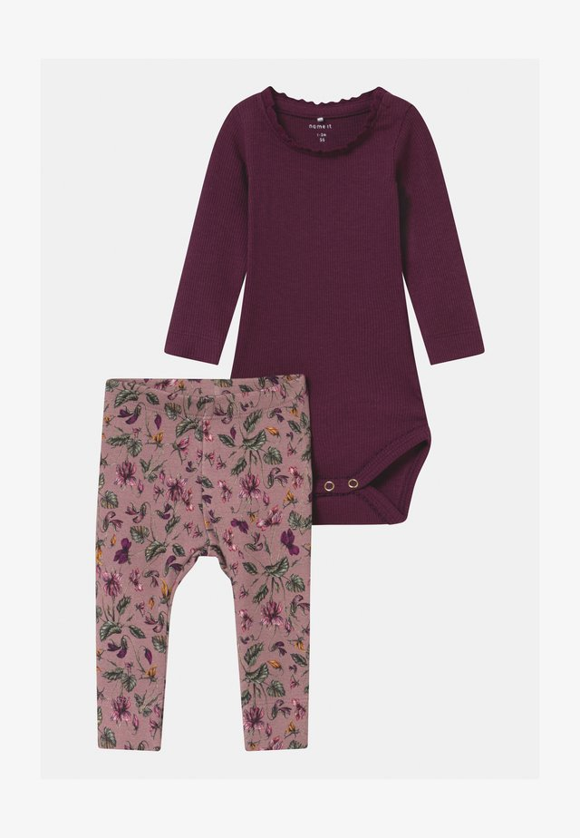 NBFROSEMARIE SET - Leggings - Trousers - italian plum/deauville mauve