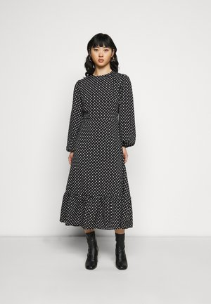 TIERED HEM MIDI DRESS POLKA - Hverdagskjoler - black
