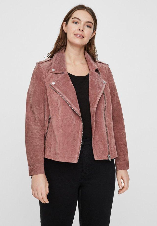 JACKE KURZE WILDLEDER - Leather jacket - old rose