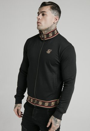 DISTINCTION JACQUARD ZIP THROUGH TRACK - Cardigan - black
