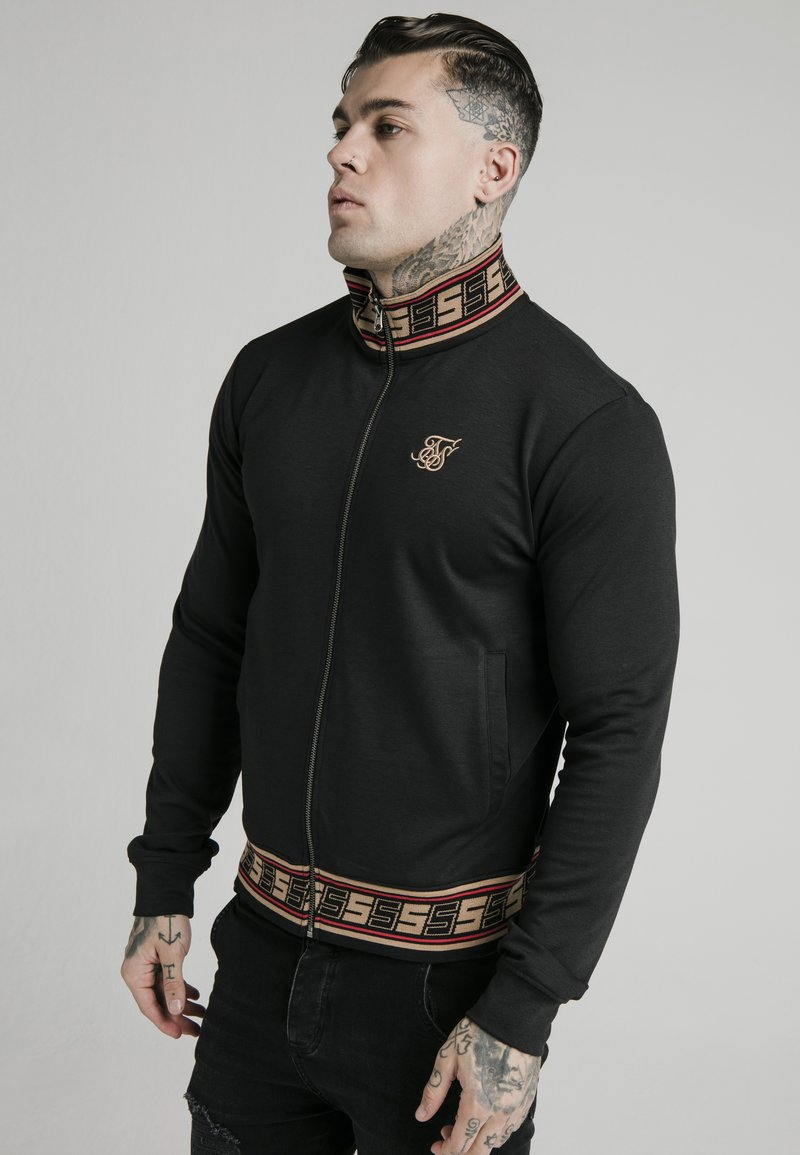 SIKSILK - DISTINCTION JACQUARD ZIP THROUGH TRACK - Cardigan - black