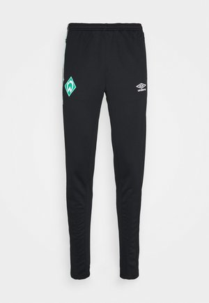 WERDER BREMEN TAPERED PANT - Klubové oblečení - black/ice green