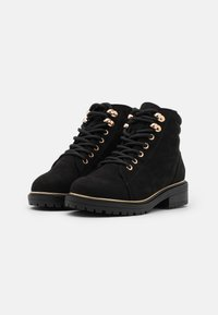 New Look Wide Fit - WIDE FIT PIPED LACE UP - Lace-up ankle boots - black - 2