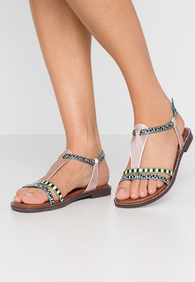 T-bar sandals - multicolor/cipria