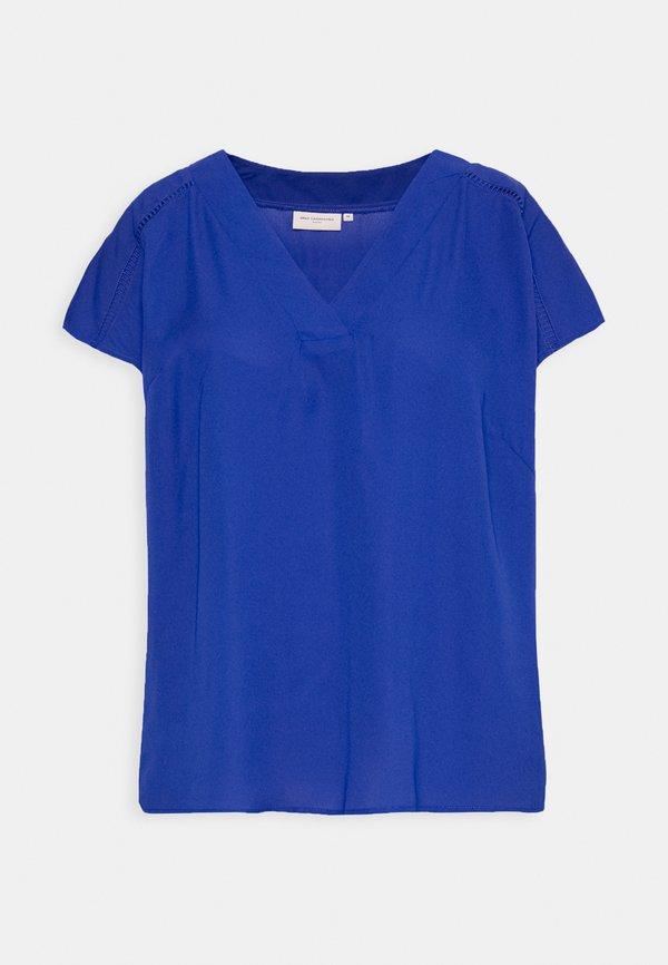 ONLY Carmakoma CARDESIDO V NECK - Bluzka - mazarine blue/niebieski PNQD
