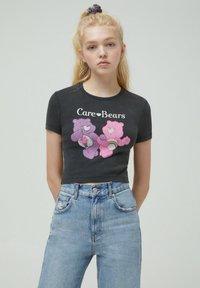 PULL&BEAR - Print T-shirt - mottled dark grey - 0