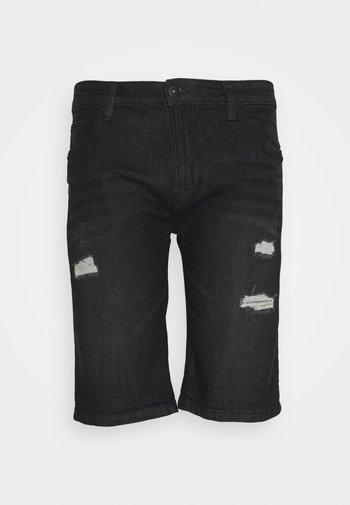 KADEN HOLES - Jeansshort - schwarz