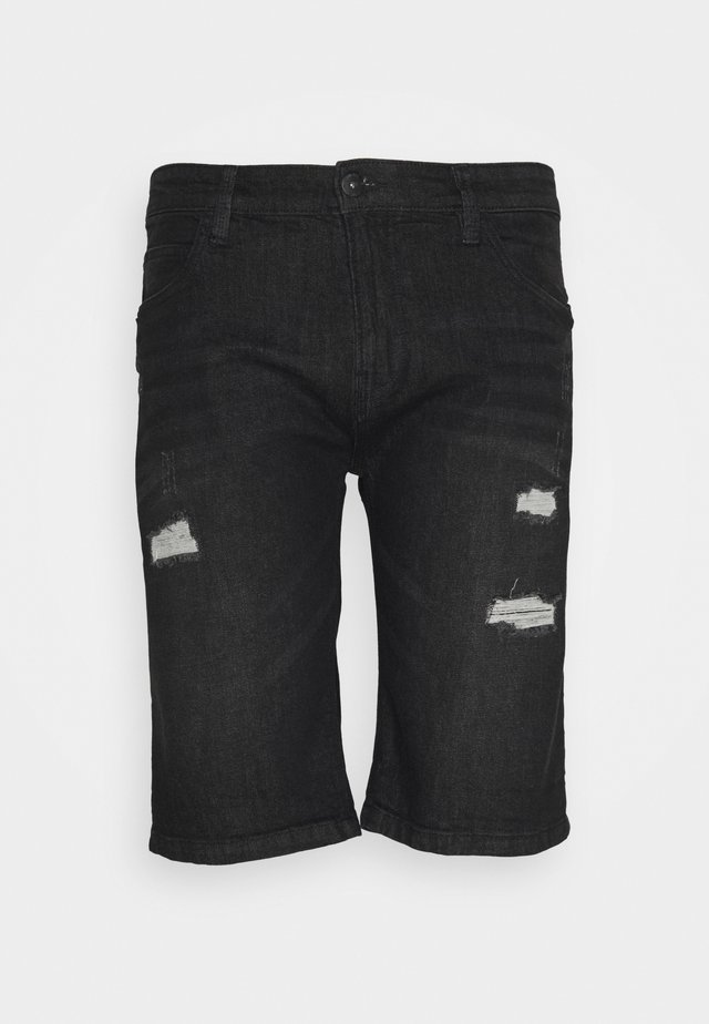 KADEN HOLES - Shorts di jeans - schwarz