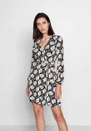 MODERN FLORAL WRAP DRESS - Day dress - black