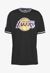 New Era - NBA LOS ANGELES LAKERS OVERSIZED APPLIQUE TEE - Print T-shirt - black - 3