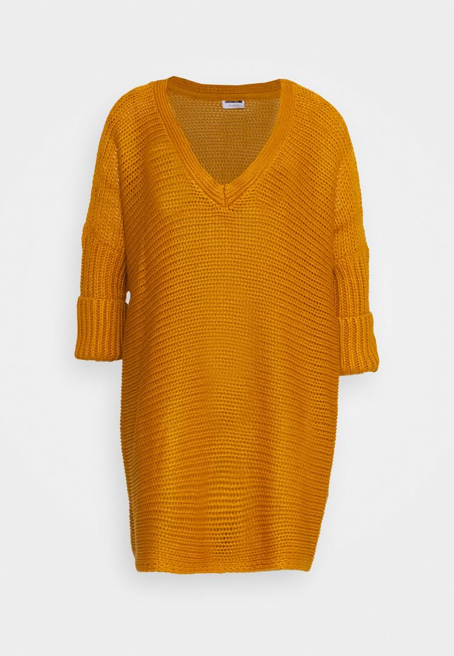 NMVERA V NECK - Jumper - inca gold
