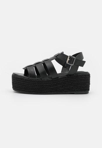 WIDE FIT LACEY - Platform sandals - black