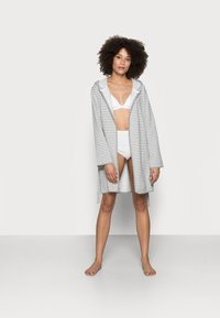 Anna Field - STRIPE FLANNEL BATHROBE  - Dressing gown - grey/white - 1