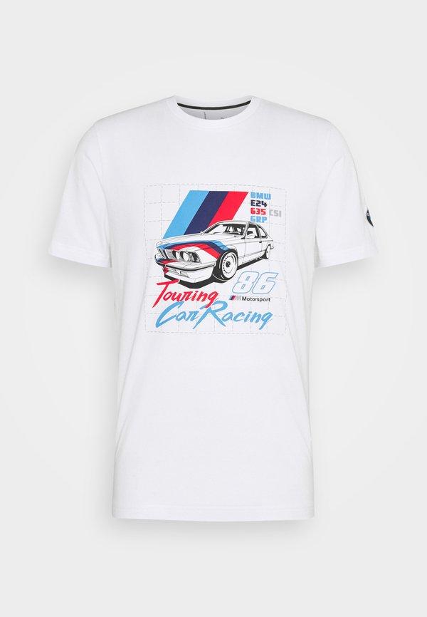 Puma BMW VINTAGE TEE - T-shirt z nadrukiem - white/biały Odzież Męska ZRCS