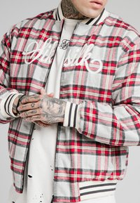 SIKSILK - CHECK - Giubbotto Bomber - grey/red - 4