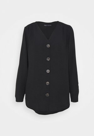 V NECK LONGLINE - Blouse - black