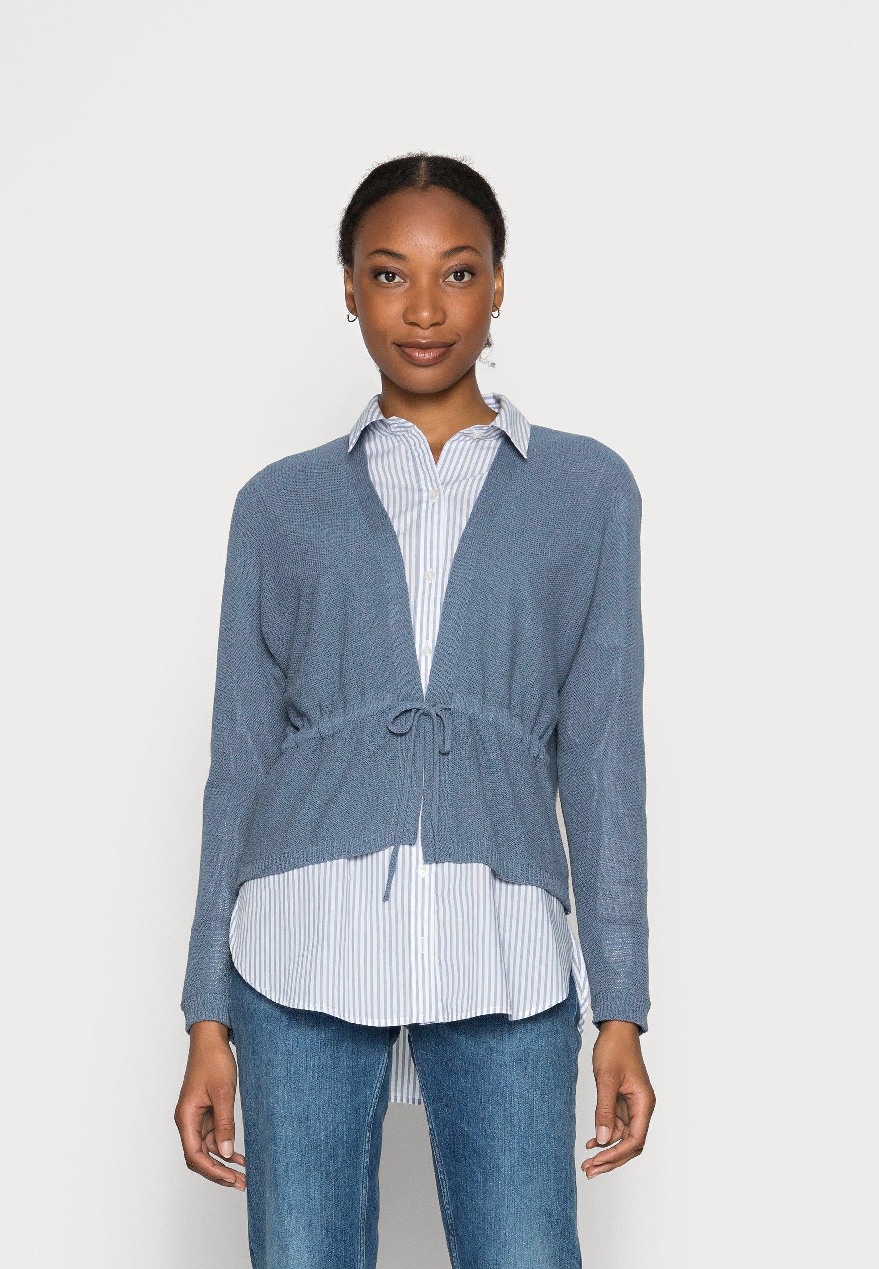Women LINEN F BLEND  - Cardigan - grey blue