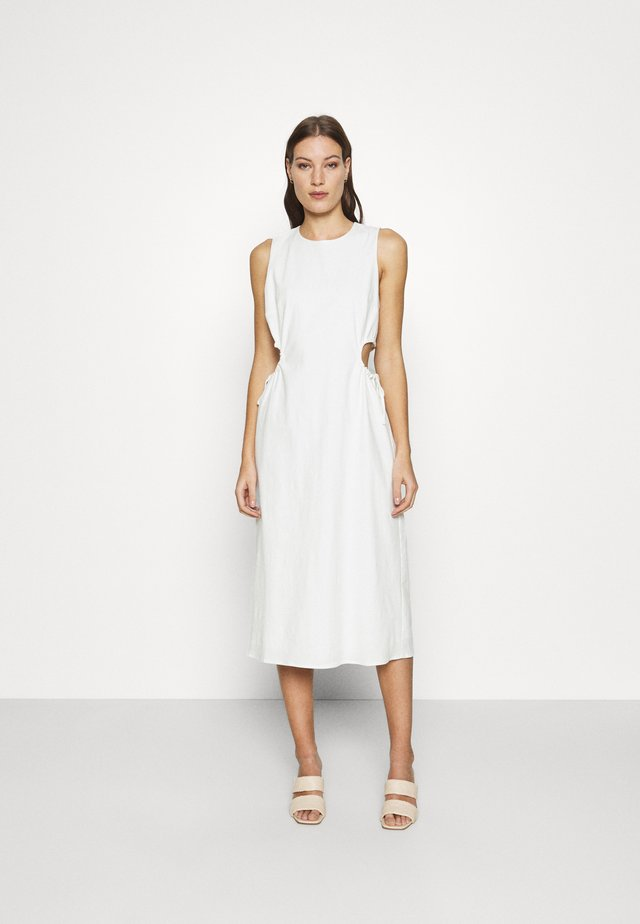 PRESSED FLOWERS DRAW SIDE MIDI - Day dress - off white