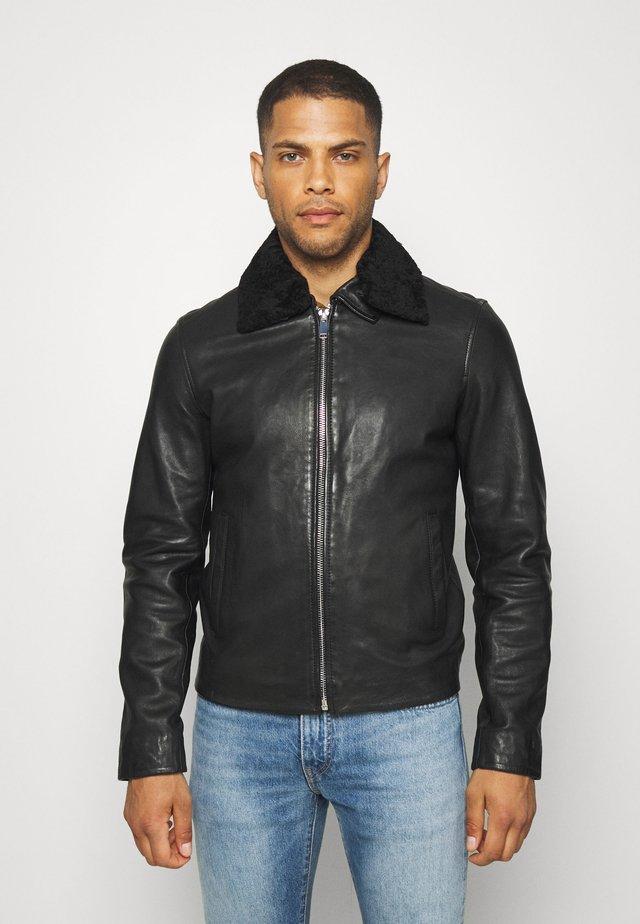 SENSE - Leather jacket - black