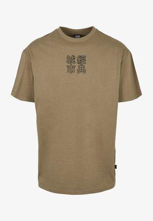 CHINESE SYMBOL TEE - Print T-shirt - khaki/black