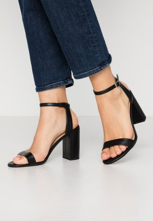 SHIMMER BLOCK HEEL - High heeled sandals - black