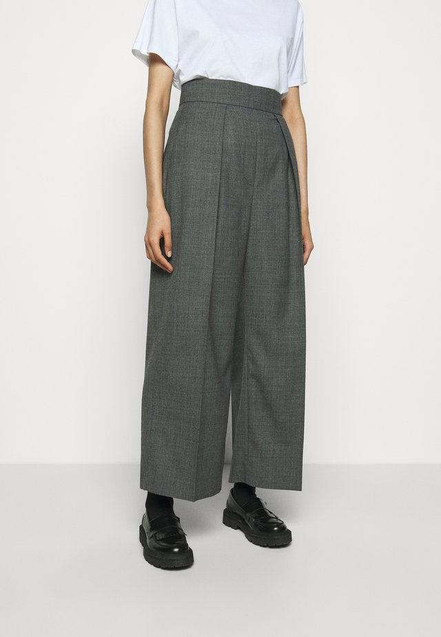 HIGH WAISTED ONE PLEAT - Pantaloni - slate grey melange