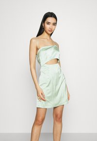 Missguided - ONE SHOULDER STRAPPY CUT OUT MINI DRESS - Cocktailkleid/festliches Kleid - sage - 0