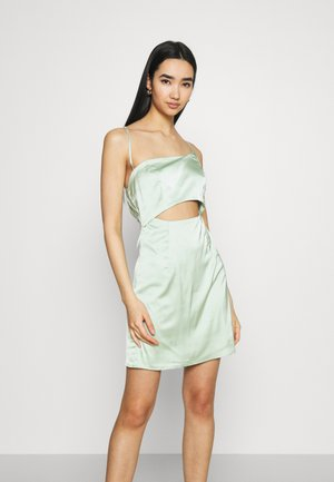 ONE SHOULDER STRAPPY CUT OUT MINI DRESS - Cocktail dress / Party dress - sage