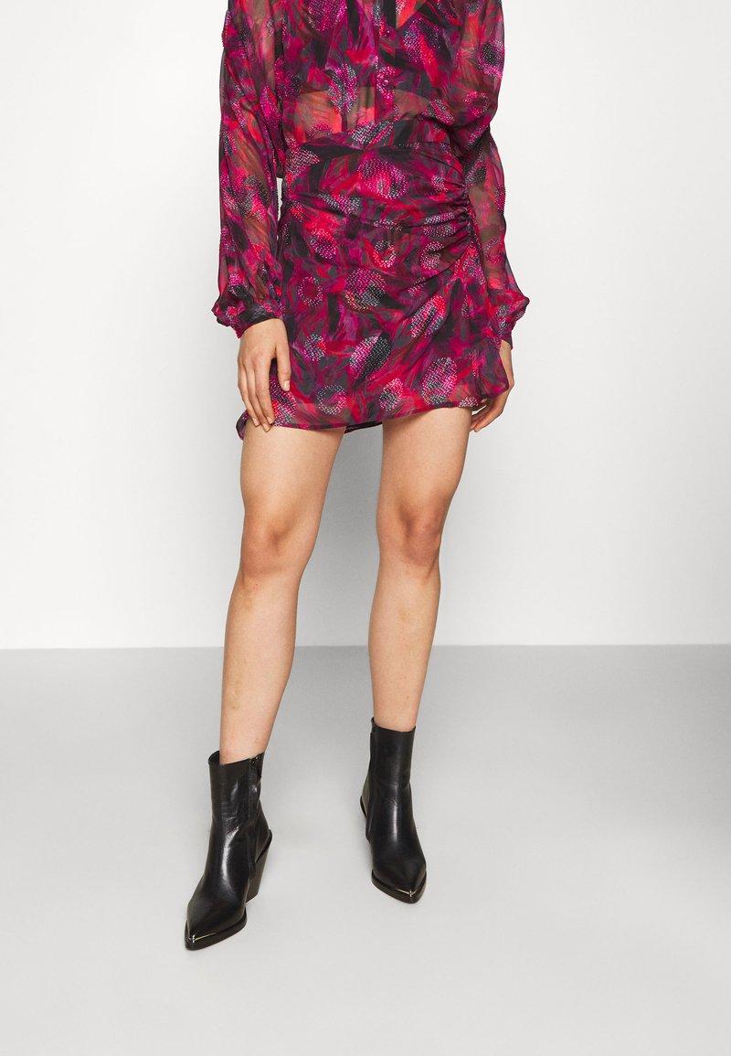 Iro - PASCOT - Mini skirt - fushia/black/red