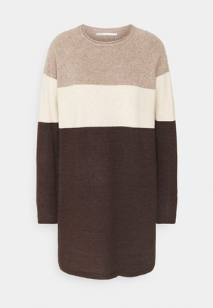ONLLILLO DRESS - Gebreide jurk - woodsmoke/oatmeal mel/chicory coffe