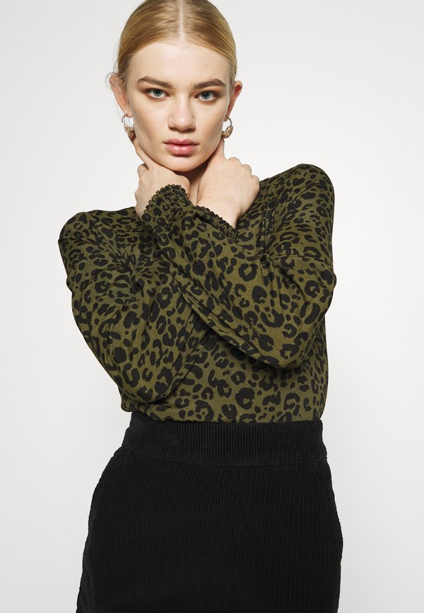 Vero Moda VMNANCY - Bluzka z długim rękawem - ivy green/oliwkowy melanż NPEP