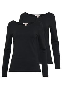 Anna Field - 2 PACK - Langærmede T-shirts - black - 0