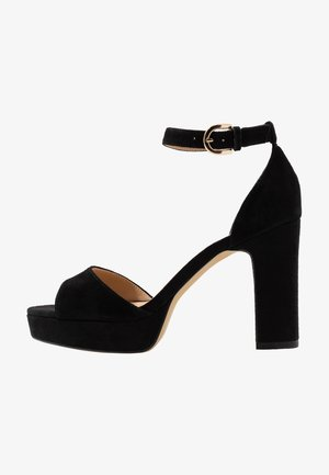 LEATHER HIGH HEELED SANDALS - High heeled sandals - black