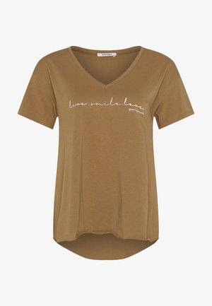 Print T-shirt - beigegrün