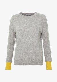 pure cashmere - CLASSIC CREW NECK COLOR BLOCK - Svetr - light grey/yellow - 3