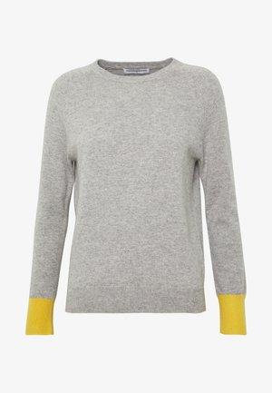 CLASSIC CREW NECK COLOR BLOCK - Jumper - light grey/yellow