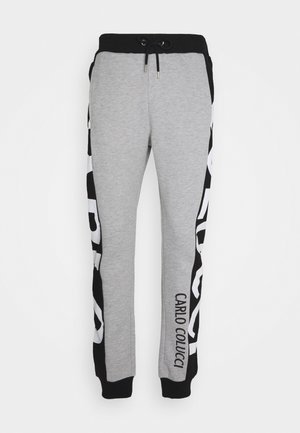 SIDE TAPE LOGO - Tracksuit bottoms - black/grey