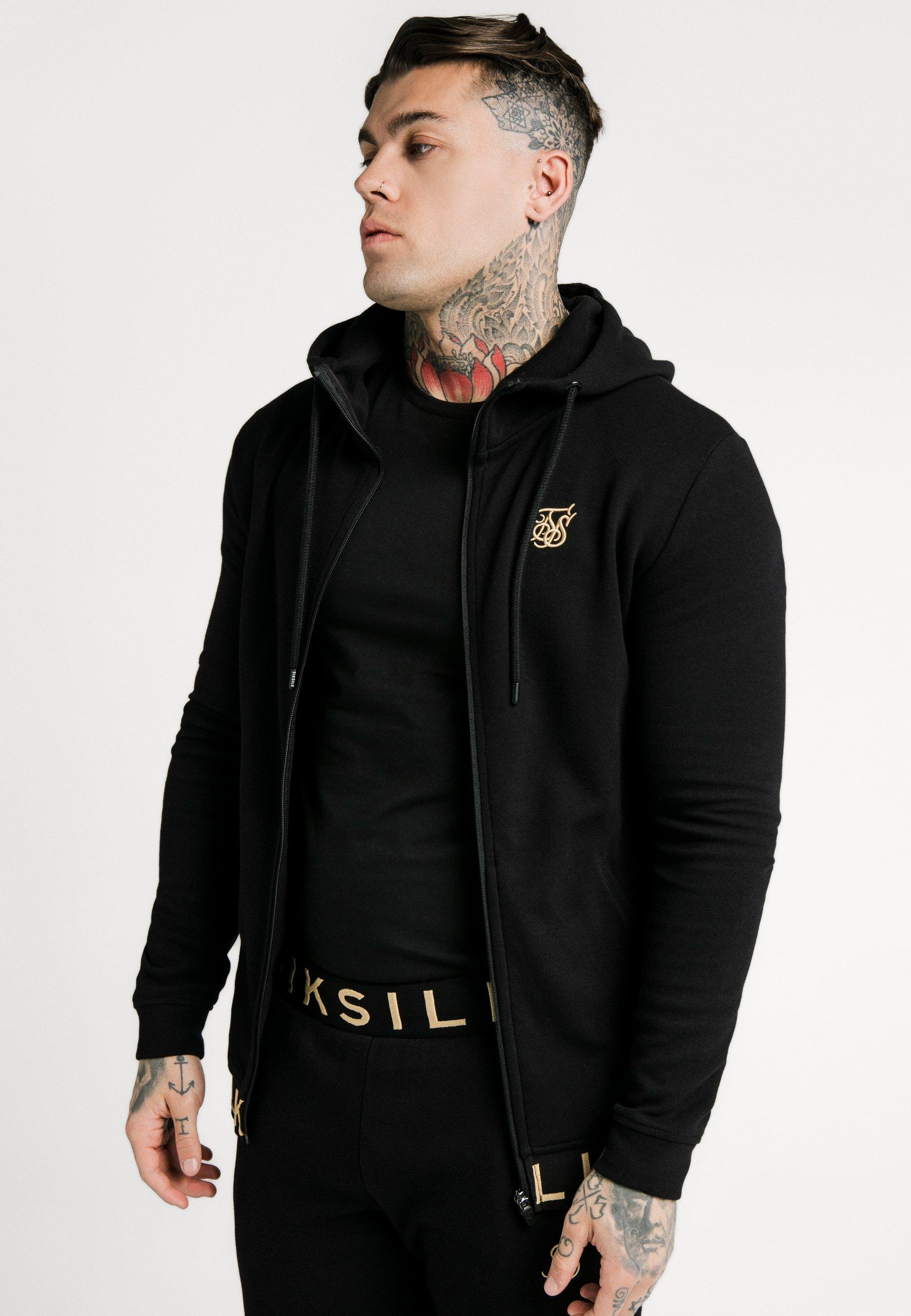 Men ELASTIC JACQUARD ZIP THROUGH HOODIE - Zip-up sweatshirt