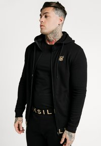 SIKSILK - ELASTIC JACQUARD ZIP THROUGH HOODIE - Felpa aperta - black - 0