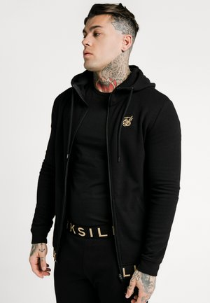 ELASTIC JACQUARD ZIP THROUGH HOODIE - Felpa aperta - black