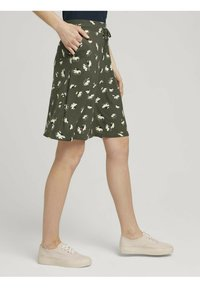 TOM TAILOR - MIT TASCHEN - Spódnica trapezowa - khaki floral design - 3