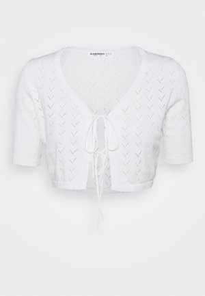 POINTELLE TIE FRONT CROP WITH SHORT SLEEVES LOW V NECK - Chaqueta de punto - white