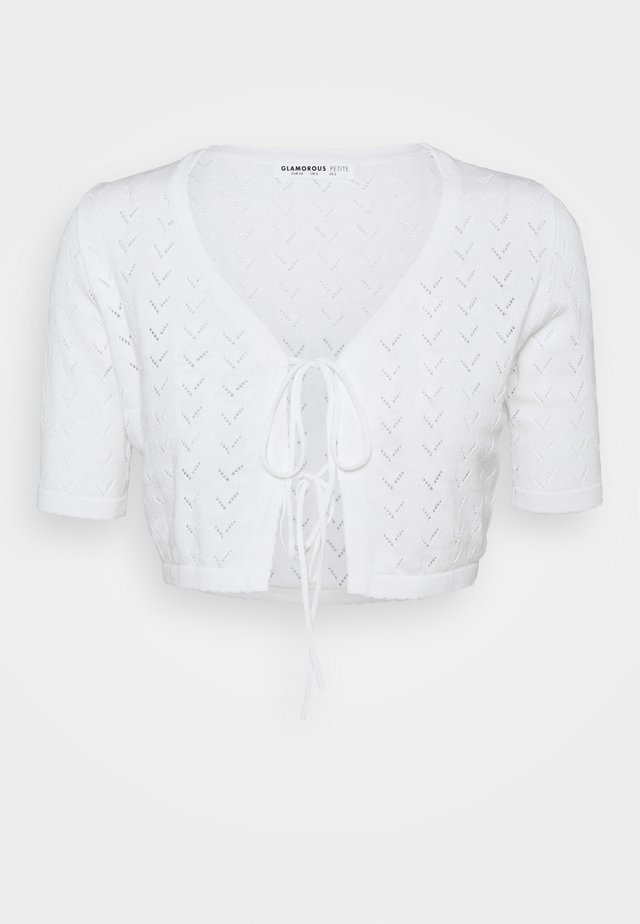 POINTELLE TIE FRONT CROP WITH SHORT SLEEVES LOW V NECK - Kardigan - white