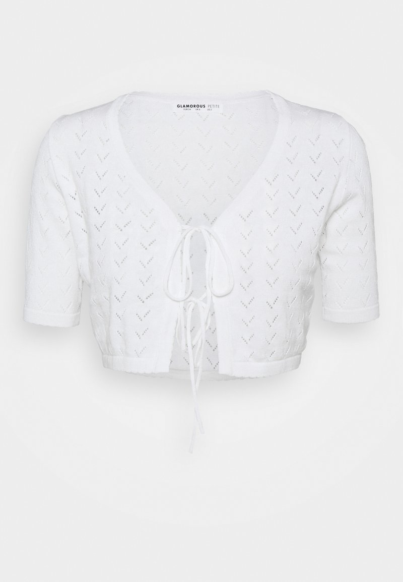 Glamorous Petite - POINTELLE TIE FRONT CROP WITH SHORT SLEEVES LOW V NECK - Cardigan - white