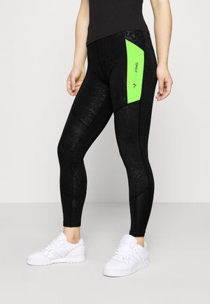 ONPANGILIA LIFE - Leggings - black/saftey yellow