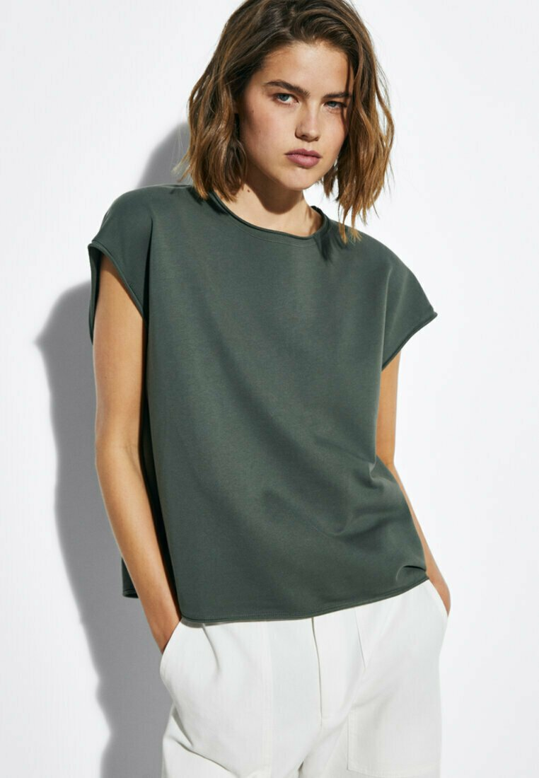 Massimo Dutti - MIT WELLENDETAIL - Basic T-shirt - khaki