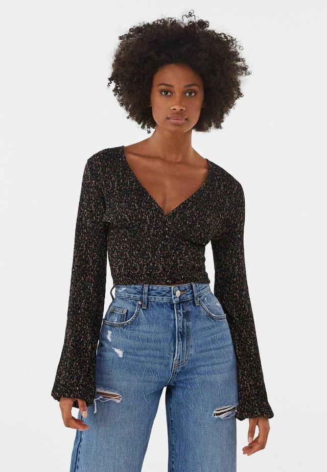 V-AUSSCHNITT - T-shirt à manches longues - black